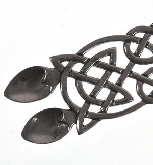 Neverending Twin Spoon Dragon Celtic Knot Lovespoon - Everlasting Welsh Love Spoon Forged in Pewter Thumbnail 3