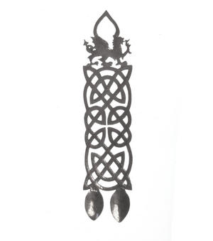 Neverending Twin Spoon Dragon Celtic Knot Lovespoon - Everlasting Welsh Love Spoon Forged in Pewter Thumbnail 4