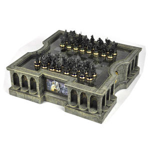 Lord of the Rings Chess Set - Two Tier Glass and Contoured Middle Earth Deluxe Set Thumbnail 1