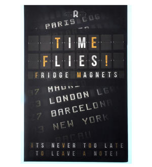 Time Flies Fridge Magnet Set - Airport Departures Font Fridge Poetry Thumbnail 2