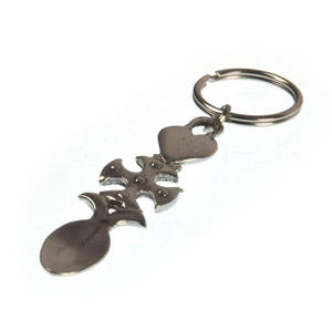 Lovespoon Keyring  - Heart Cross  - Everlasting Welsh Love Spoon Forged in Pewter Thumbnail 2