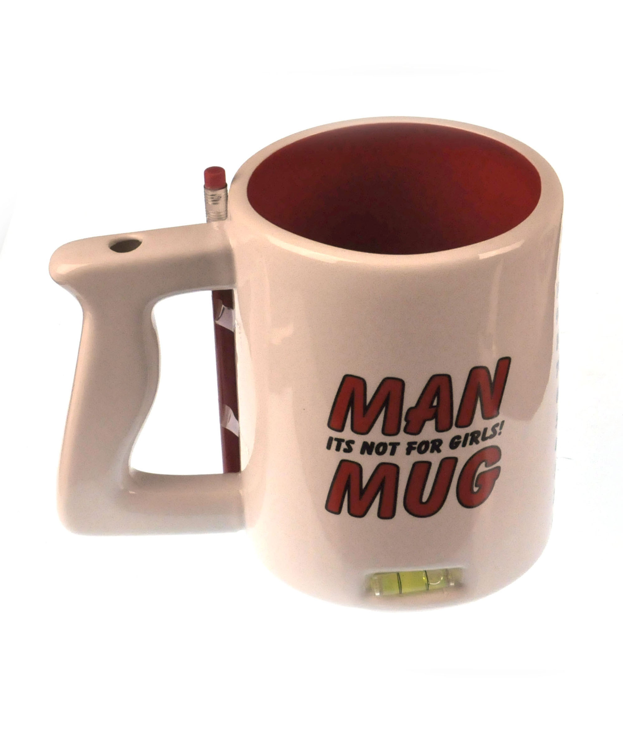 xxl man mug with built in spirit level pencil and women forbidden sign on base pink cat shop. Black Bedroom Furniture Sets. Home Design Ideas