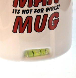 XXL Man Mug with Built in Spirit Level, Pencil and Women Forbidden Sign on Base Thumbnail 3