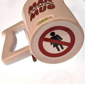 XXL Man Mug with Built in Spirit Level, Pencil and Women Forbidden Sign on Base Thumbnail 4