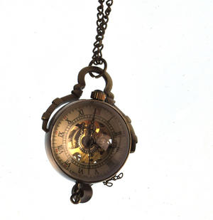 The Gulliver Maechanical Pendant Pocket Watch with See-Through Skeleton Workings and Fisheye Glass Thumbnail 1
