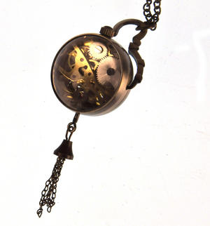 The Gulliver Maechanical Pendant Pocket Watch with See-Through Skeleton Workings and Fisheye Glass Thumbnail 3