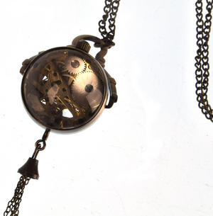 The Gulliver Maechanical Pendant Pocket Watch with See-Through Skeleton Workings and Fisheye Glass Thumbnail 4