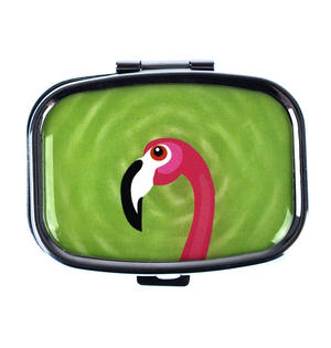 Pink Flamingo on Green Pill Box Thumbnail 1