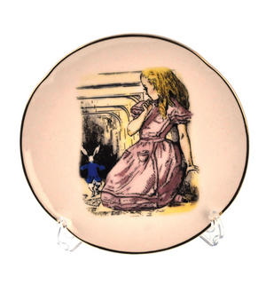Alice and The White Rabbit - Alice in Wonderland Porcelain Wall Plate Thumbnail 1