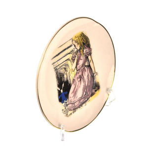 Alice and The White Rabbit - Alice in Wonderland Porcelain Wall Plate Thumbnail 2