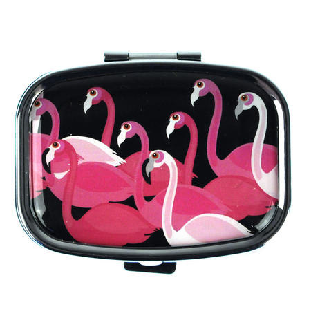 Pink Flamingos Flock Pill Box