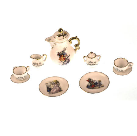 Alice in Wonderland - Dolls' House Mini Porcelain Coffee Set