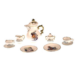 Alice in Wonderland - Dolls' House Mini Porcelain Coffee Set Thumbnail 2