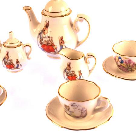 Beatrix Potter Porcelain Tea Set and Hamper