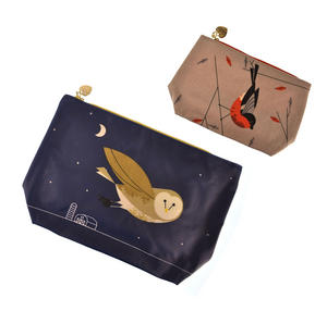 Birdy II - Bullfinch & Owl Make Up Bag / Wash Bag Set by Magpie Thumbnail 1