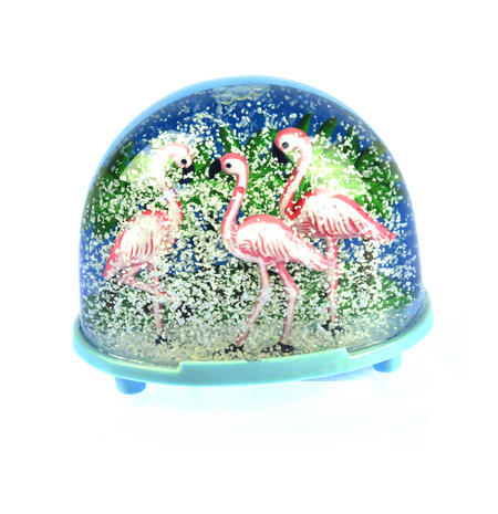 Pink Flamingos Snow Globe