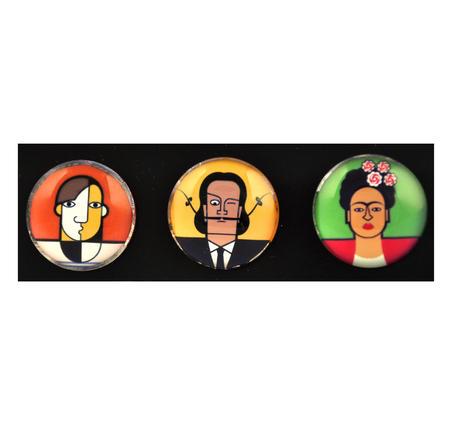Picasso Dali Kahlo - Great Modern Artists Glass Magnet Set 1
