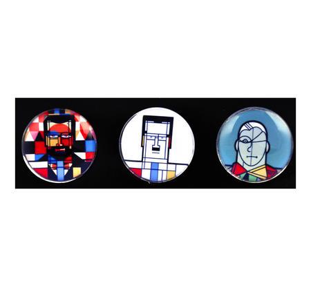 Klee Mondrian de Chirico - Great Modern Artists Glass Magnet Set 2