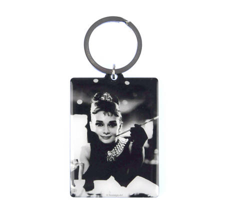 Audrey Hepburn Classic Tiffanys Metal Keyring with Movie Guide