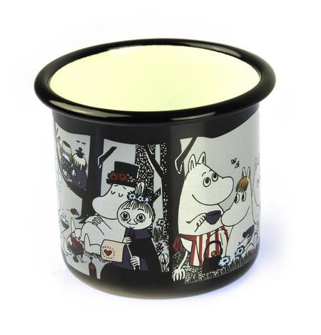 Moomin Picnic on Black - Moomin Muurla Enamel Mug - 37 cl