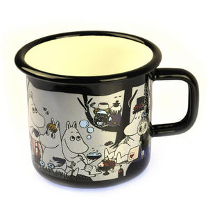Moomin Picnic on Black - Moomin Muurla Enamel Mug - 37 cl Thumbnail 2