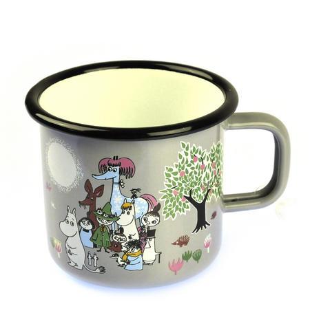 Moomin Garden on Grey - Moomin Muurla Enamel Mug - 37 cl