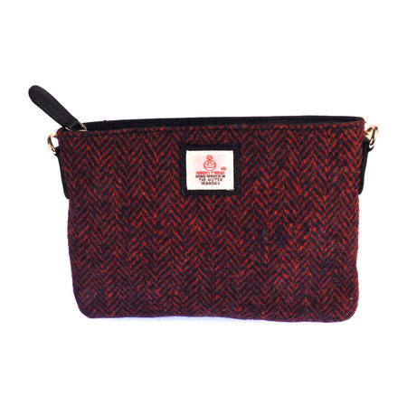 Red Herringbone Harris Tweed Small Bag