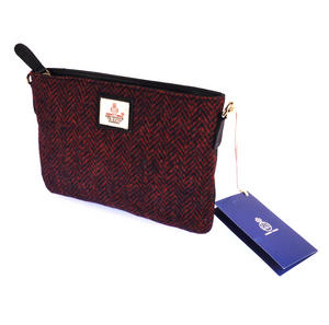 Red Herringbone Harris Tweed Small Bag Thumbnail 4