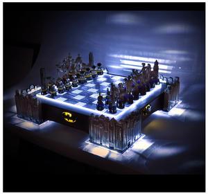 Special Collectors Edition - Batman Pewter Chess Set - LED Gotham Cityscape & Bat Signal Projection Thumbnail 1
