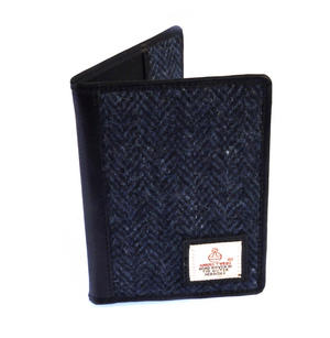 Blue Harris Tweed Herringbone Passport Wallet by Cloudberry