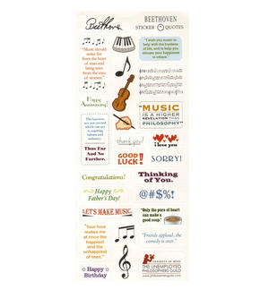 Beethoven Quotable Notable - Greeting Card With Sticker Quotes Thumbnail 2