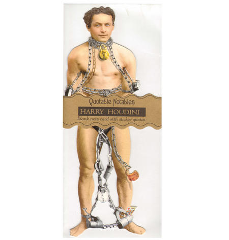 Harry Houdini Quotable Notable - Greeting Card With Sticker Quotes