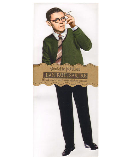 Jean Paul Sartre Quotable Notable - Greeting Card With Sticker Quotes