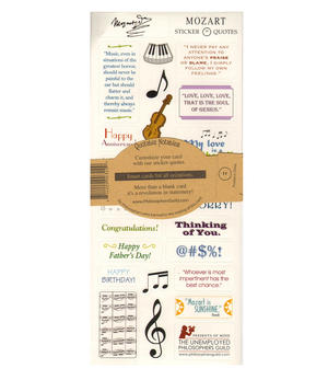 Mozart Quotable Notable - Greeting Card With Sticker Quotes Thumbnail 2