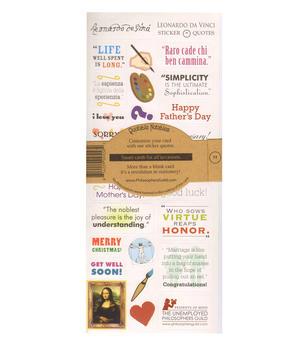 Leonard De Vinci Quotable Notable - Greeting Card With Sticker Quotes Thumbnail 2