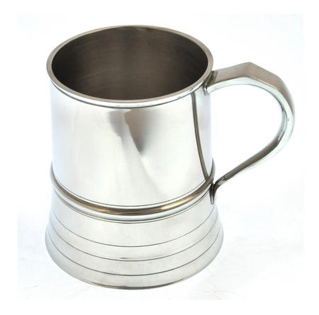 Beaded One Pint Tankard in Heavy Hallmarked Pewter