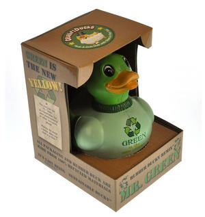 Mr. Green - Recycled Green Rubber Duck - Celebriduck Thumbnail 3