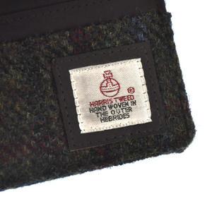 Green / Red Harris Tweed Credit Card Wallet Thumbnail 3