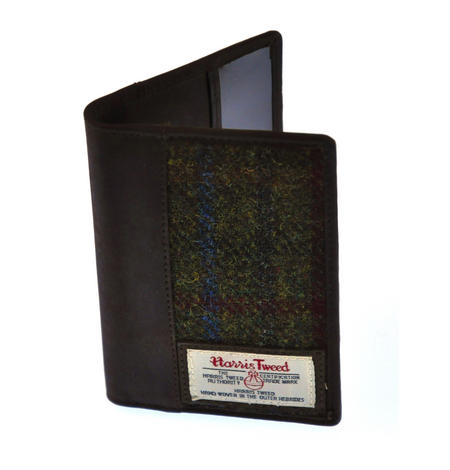 Red / Green Harris Tweed Passport Wallet