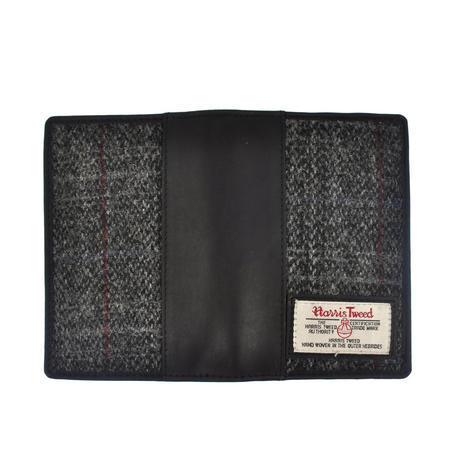 Grey Harris Tweed Passport Wallet