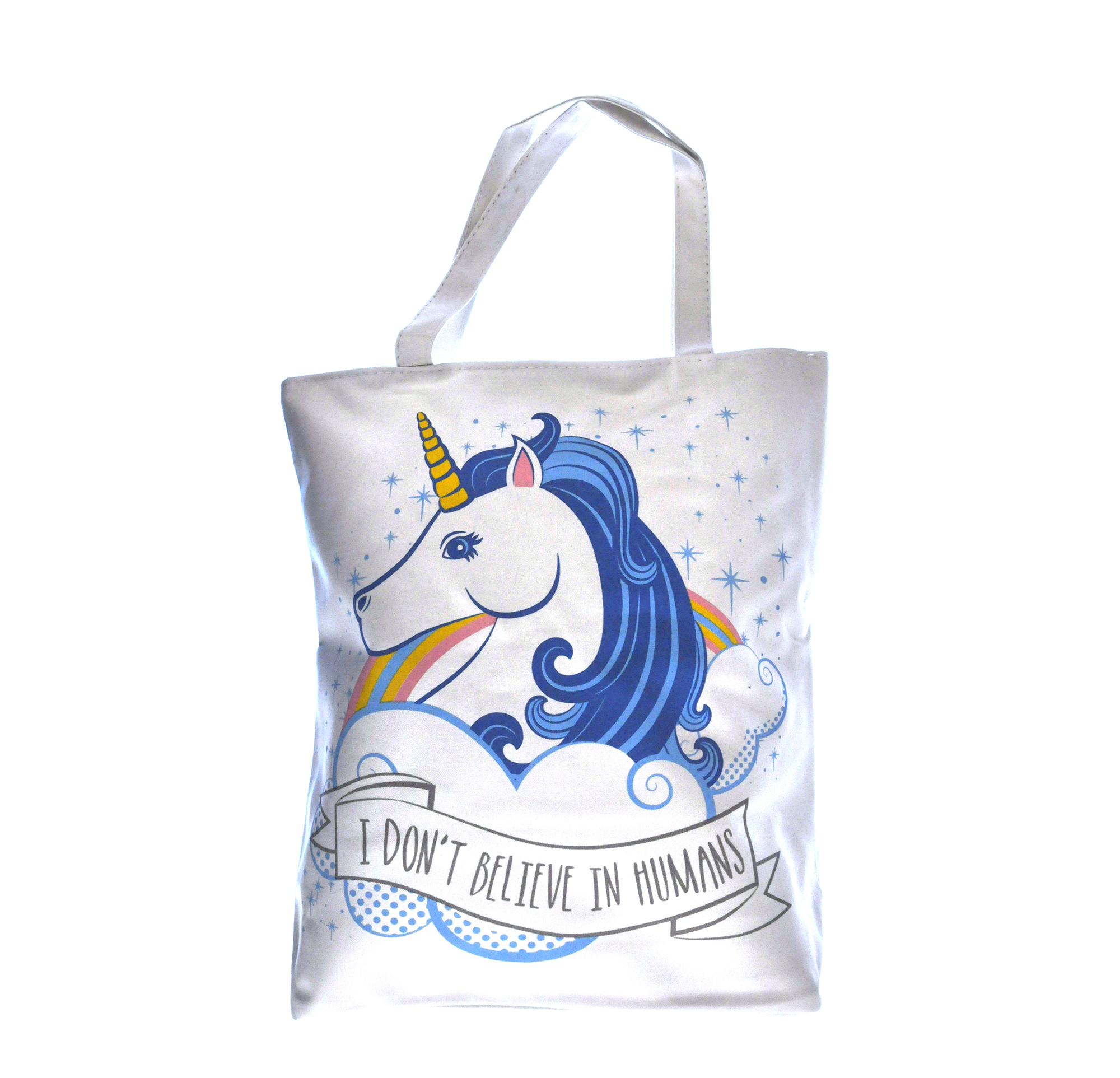 Unicorn Shopper Bag I Don T Believe In Humans Pink Cat