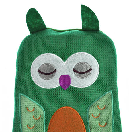 Green Dotty Owl - Hot Water Bottle - 1 Litre / 35 fl oz