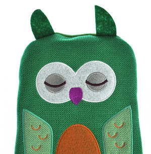Green Dotty Owl - Hot Water Bottle - 1 Litre / 35 fl oz Thumbnail 1