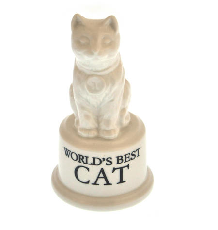 "World's Best Cat Trophy -  Ceramic Cat 5"" / 12.7 cm"