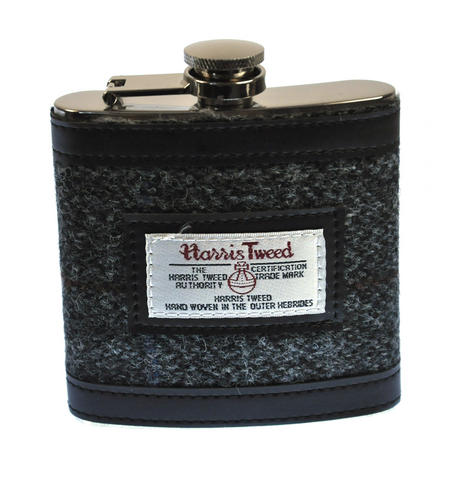 Grey Harris Tweed Hip Flask