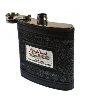 Grey Harris Tweed Hip Flask Thumbnail 3