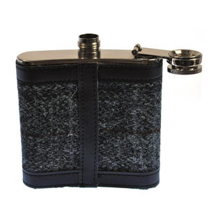 Grey Harris Tweed Hip Flask Thumbnail 4