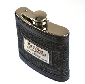 Grey Harris Tweed Hip Flask Thumbnail 5