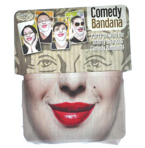 Red Lips Comedy Bandana - One Size Stretchy Face Mask Thumbnail 1