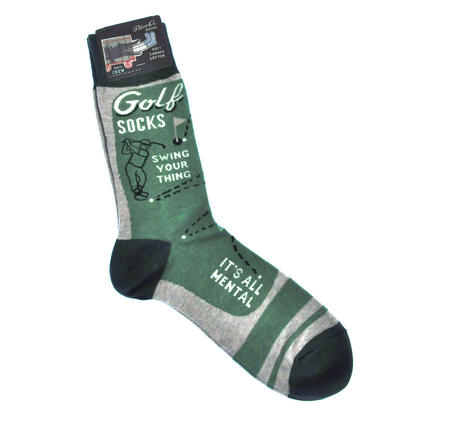 Golf Socks. Swing your Thing. It's All Mental.  - Soft Combed Cotton Socks - Men's Crew